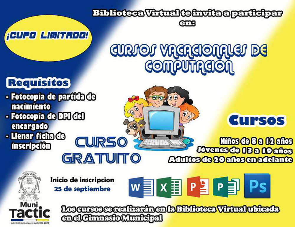 Cursos vacacionales de computaci n municipalidad de tactic for Municipalidad de avellaneda cursos